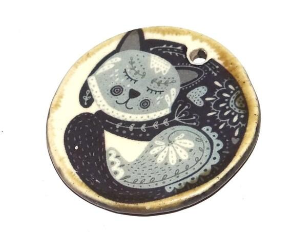 Ceramic Cat Pendant Folk Art Handmade Focal Inspirational Motivational