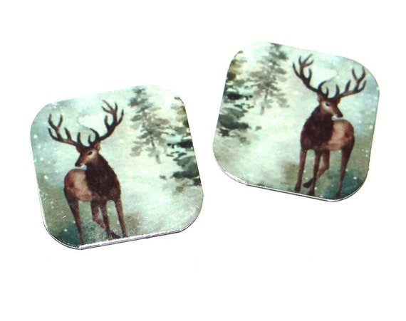 "Metal Stag Deer Forest Earring Charms Handmade 16mm Pair 5/8"" MC2-3"