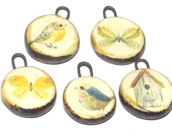 Ceramic Bird Butterfly Charm Set Handmade Pottery Beads