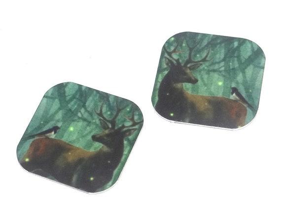 "Metal Stag Earring Charms Handmade Wildlife Animal Bird 16mm 5/8"" MC2-3"