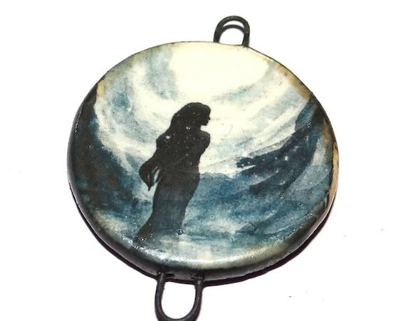 """Ceramic Female Goddess Pendant Handmade Focal Porcelain 40mm 1.6"""" CP5-2"""