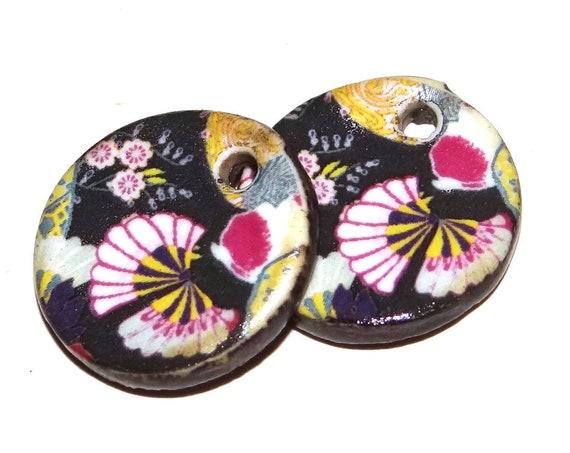 Ceramic Floral Earring Charms Pair Beads Handmade Rustic Flower Black Pink