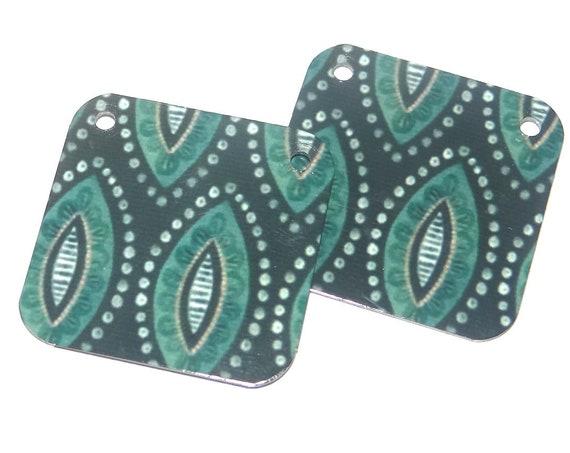 Metal Patterned Earring Charms Handmade Tribal Print