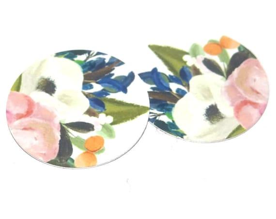 "Metal Flower Earring Charms Handmade Watercolor 1"" 25mm MC6-2"