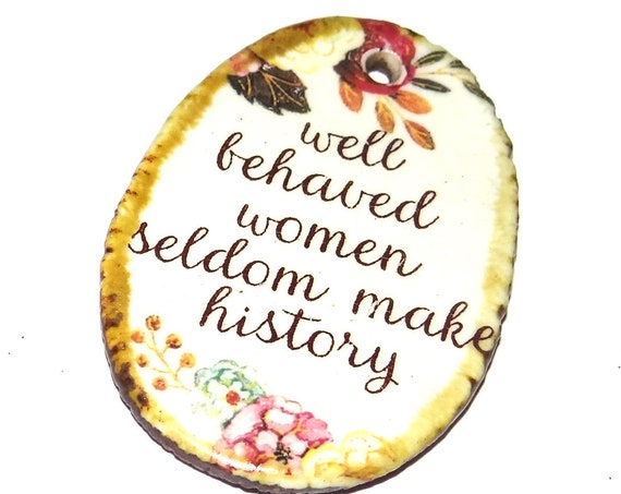 Ceramic Quote Pendant Word Handmade Focal Feminist Feminism Porcelain