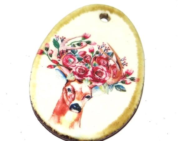 Ceramic Deer Stag Boho Handmade Focal Pendant Porcelain