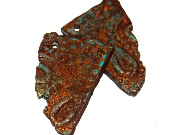 Ceramic Patina Charms Pair Beads Textured Copper Rust Rusty Rusted