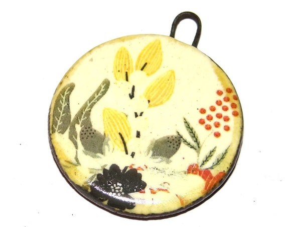 "Ceramic Floral Pendant Handmade Focal Porcelain 40mm 1.6"" CP5-2"