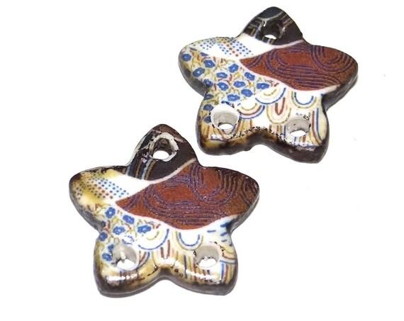 Ceramic Earring Charms Pair Handmade Rustic