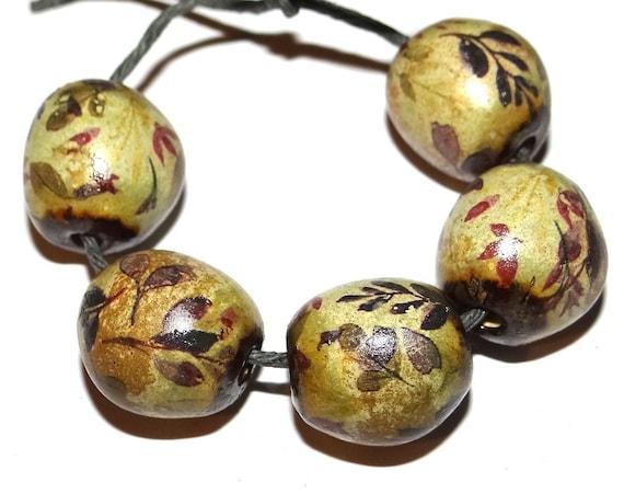 "Handmade Ceramic Floral Beads Porcelain Handmade 10mm 0.4"""