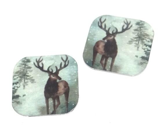 """Metal Stag Deer Earring Charms Handmade Wildlife Animal 16mm 5/8"""" MC2-3"""