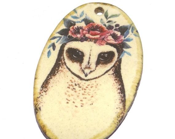Ceramic Owl Pendant Handmade Focal Porcelain