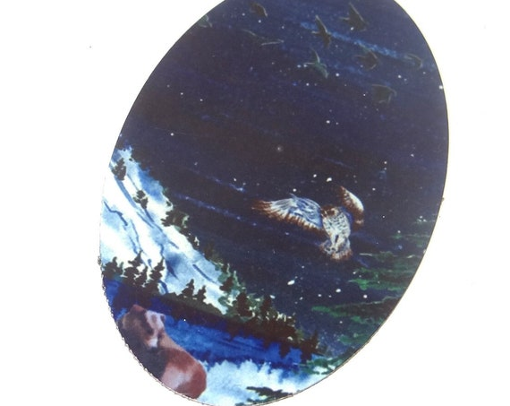 "Large Metal Owl Bear Mountains Pendant Handmade 50mm 2"""