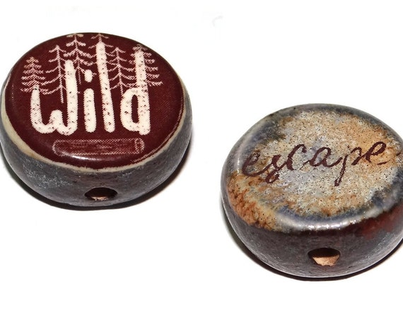 1 Ceramic Double Sided Quote Bead Porcelain Handmade CFB4-1