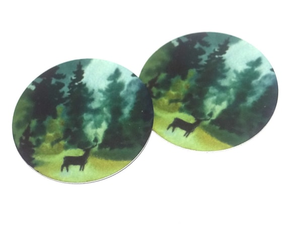 """Metal Stag Earring Charms Handmade Forest Animal Wildlife Trees 1"""" 25mm MC6-2"""