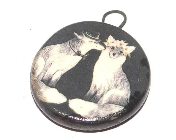 Ceramic Fox Pendant Handmade Focal Porcelain