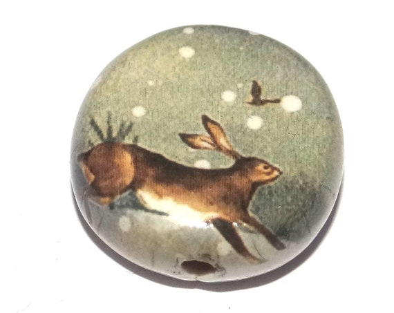 Ceramic Large Hare Snow Winter Scene Focal Bead Porcelain Handmade