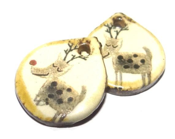 Ceramic Rudolph Reindeer Winter Earring Charms Dangle Pair Beads Handmade Rustic