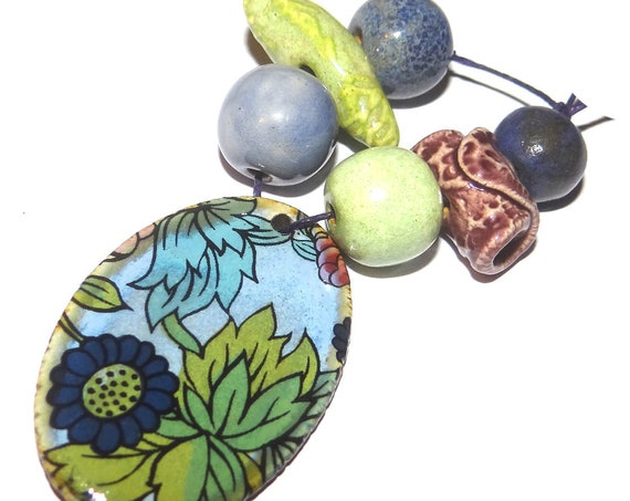 Ceramic Textured Bead Set & Pendant Porcelain Handmade Pottery Beads Rustic