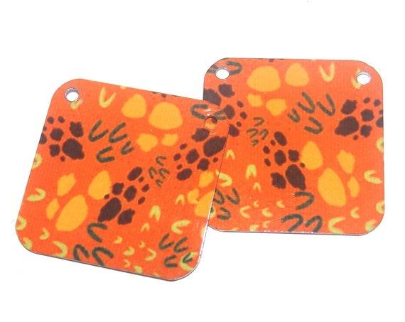 Metal Patterned Earring Charms Handmade Orange