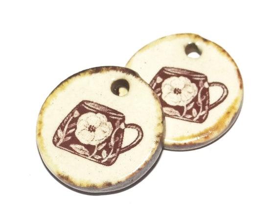 Ceramic Coffee Cup Tea Charm Pair Set Porcelain Handmade