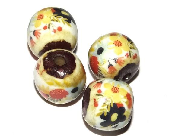 Ceramic Bead Set Stoneware Handmade Pottery Beads Floral Pink