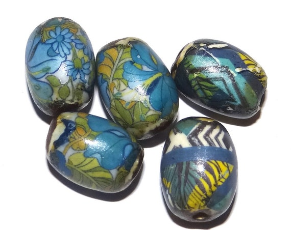 Ceramic Barrel Beads Rustic Handmade Jewelry Component