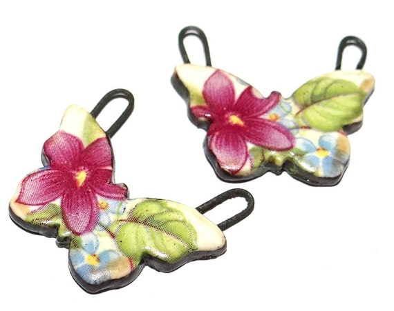 """Ceramic Butterfly Earring Charms Pair Beads Handmade Rustic 20mm/0.8"""" CC1-1"""
