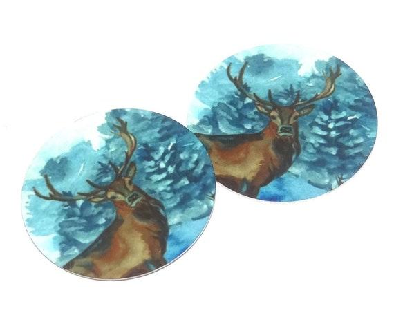 "Metal Stag Earring Charms Handmade Winter Snow 1"" 25mm MC6-2"