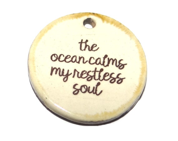 Ceramic Quote Pendant Handmade Focal Porcelain