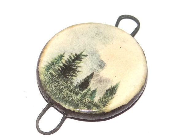 Ceramic Forest Trees Pendant Handmade Focal Porcelain