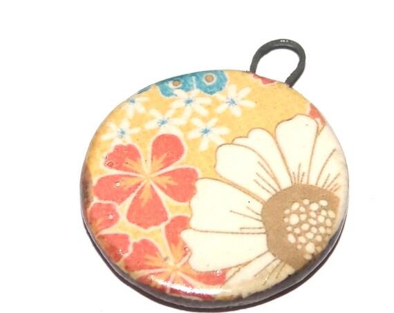 Ceramic Retro Flower Pendant Handmade Focal Porcelain