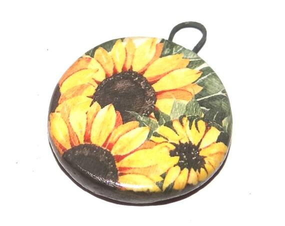 Ceramic Sunflower Pendant Handmade Focal Porcelain