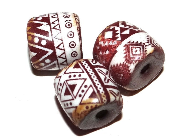Ceramic Aztec Patterned Bead Set Porcelain Handmade