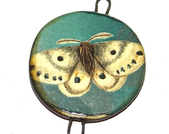 "Ceramic Butterfly Pendant Handmade Focal Porcelain 40mm 1.6"" CP5-2"