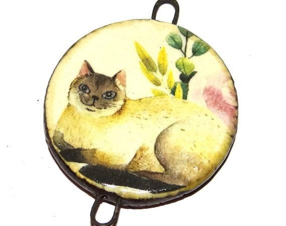 "Ceramic Cat Pendant Handmade Focal Porcelain 40mm 1.6"" CP5-2"