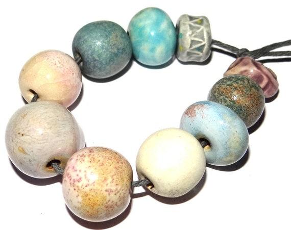 "Handmade Ceramic Floral Beads Porcelain Handmade 15mm 0.6"""