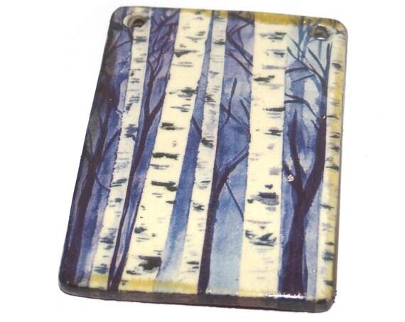 Ceramic Birch Trees Pendant Handmade Focal