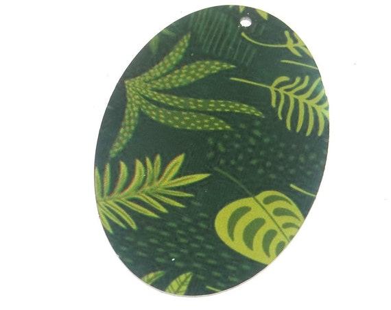 "Metal Floral Leaf Pendant Handmade Green 50mm 2"" MLP7-1"