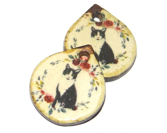 Ceramic Cat Earrings Beads Charms Pair Porcelain