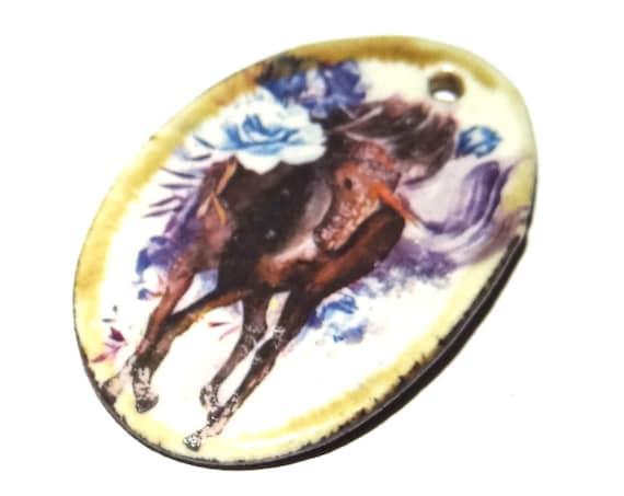 Ceramic Unicorn Boho Handmade Focal Pendant Horse Floral Magical