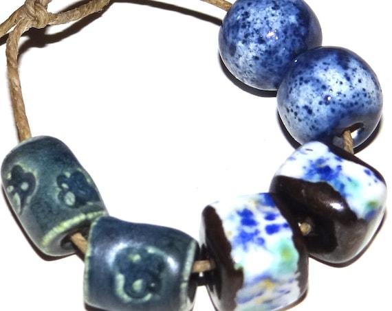 Ceramic Textured Bead Pairs Set Porcelain Handmade Pottery Beads Rustic Blue Ocean