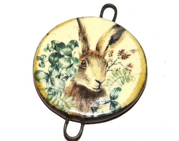 "Ceramic Hare Pendant Handmade Focal Porcelain 40mm 1.6"" CP5-2"
