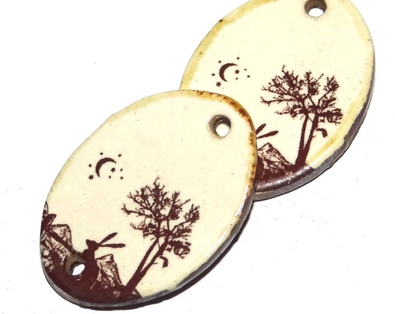 Ceramic Hare Moon Charms Pair Porcelain Handmade