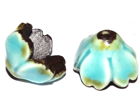 Ceramic Earring Flower Pods Bloom Bells Charms Pair Handmade Porcelain