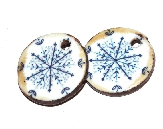 Ceramic Snowflake Earring Charms Pair Beads Handmade Rustic