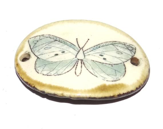 Ceramic Bracelet Bar Cuff Floral Handmade Porcelain Butterfly