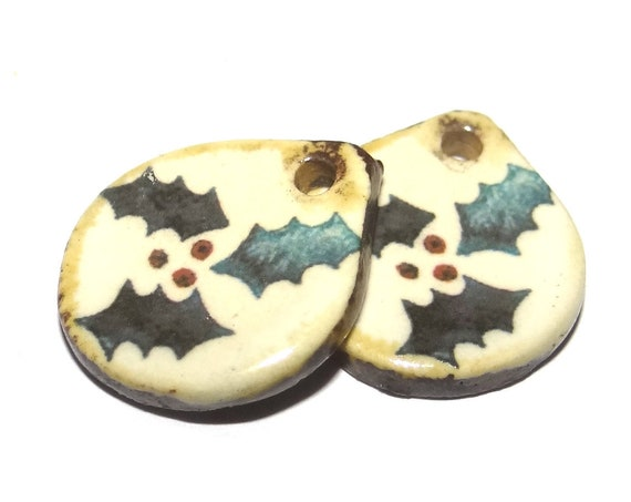 Ceramic Holly Christmas Earring Charms Dangle Pair Beads Handmade Rustic