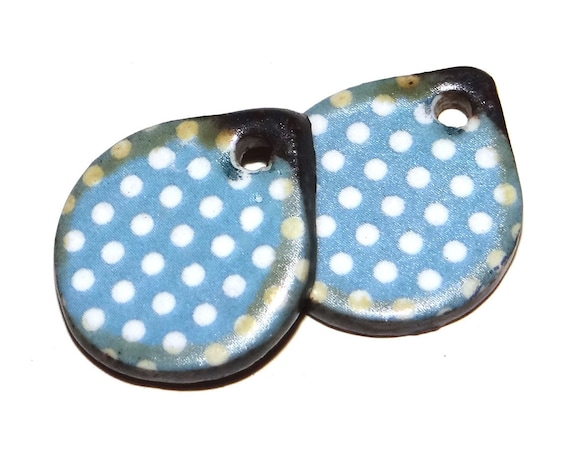 Ceramic Spotty Earring Charms Pair Beads Handmade Rustic Dotty polka Dot