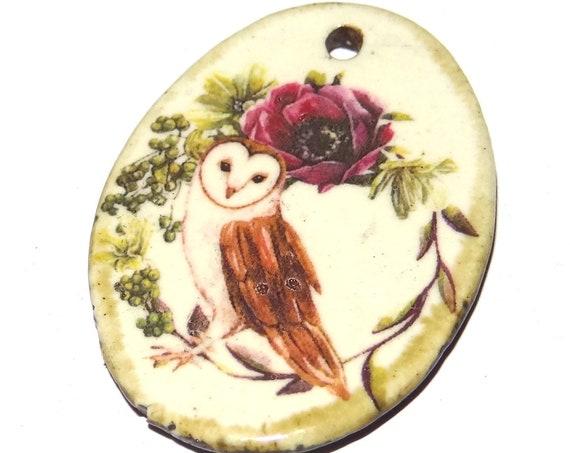 Ceramic Owl Flower Pendant Floral Handmade Porcelain Focal